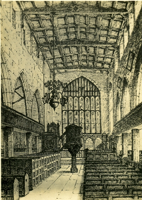 Old engraving showing gallery