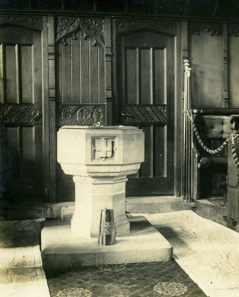 Font at the base of the tower