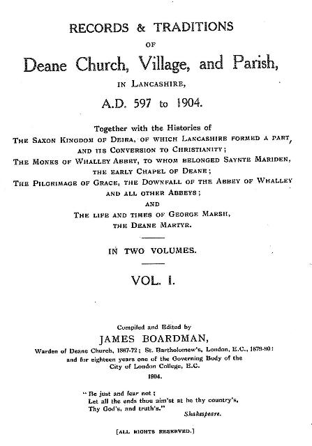 Records and Traditions of Deane Church Volume 1