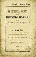 An Historical Account of the Endowment of the Church in the Parish of Deane (1885)